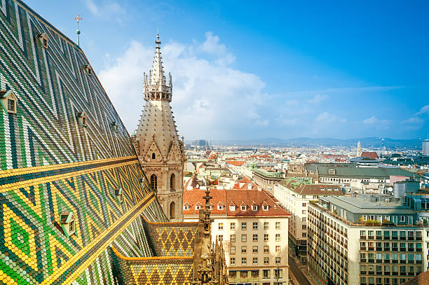 aerial view of city center vienna from st. stephen's cathedral - vienna stock photos and pictures