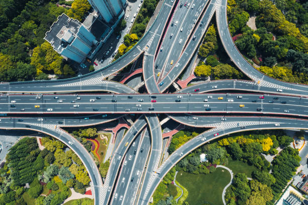 aerial view of city Motorway Junction Multiple Lane Highway, Overpass, Elevated Road, Road, Road Intersection elevated road stock pictures, royalty-free photos & images