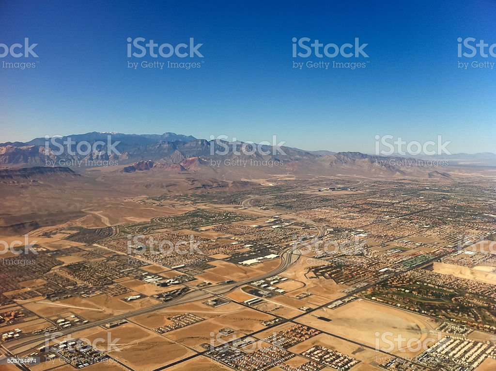 Aerial view of city near Las Vegas, USA. stock photo