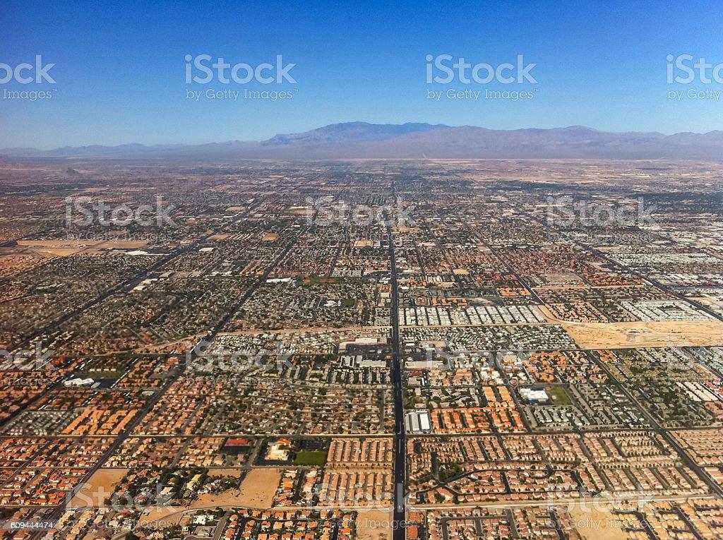Aerial view of city near Las Vegas, USA. stock photo