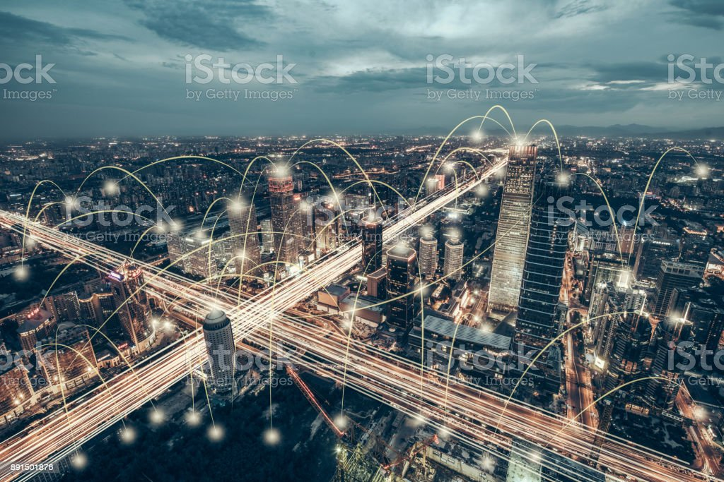 Aerial View of City Network of Beijing Skyline stock photo