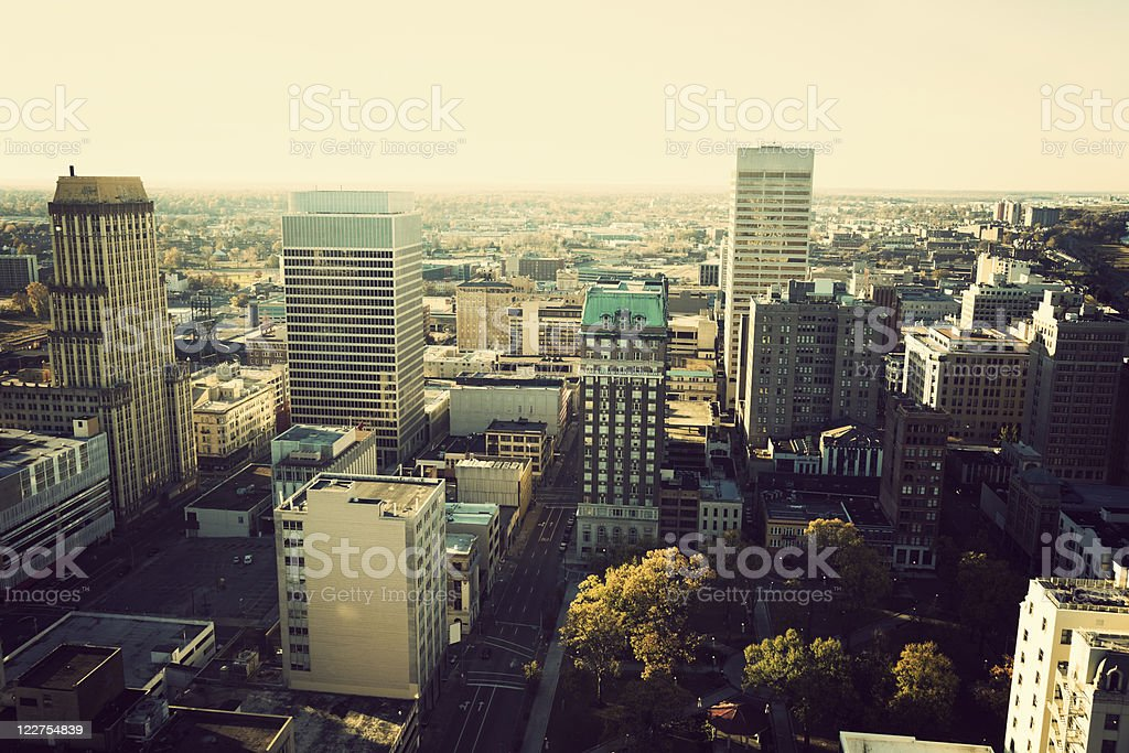 Aerial view of city of Memphis, Tennessee on a cloudy day stock photo