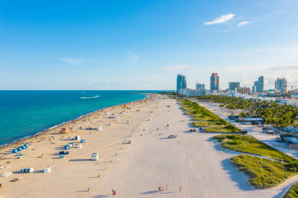 Aerial view of city of Miami with beach, Florida, USA stock photo
