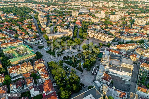 Aerial view of city of Ruse and Monument of Liberty at town square - (Bulgarian: Русе, България и Паметникът на Свободата ). The picture is taken with DJI Phantom 4 Pro drone / quadcopter