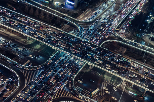 Aerial View of City Overpass at Rush Hour stock photo