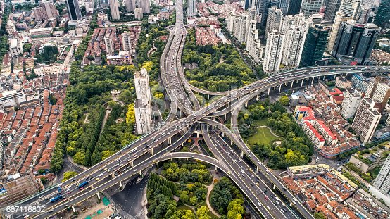 istock Aerial view of city overpass 687116802
