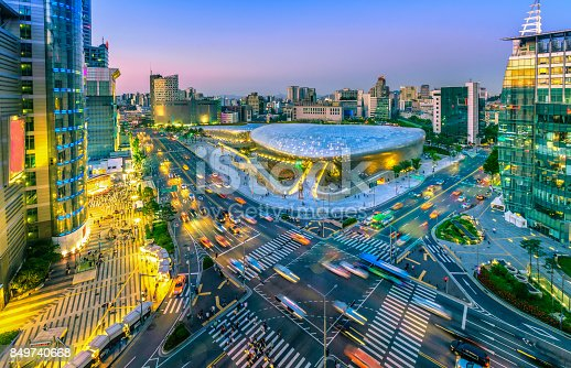 istock Aerial view of city Seoul at night, South Korea, 849740668