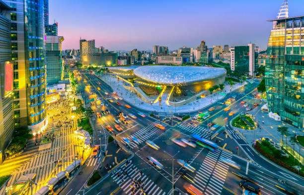 Aerial view of city Seoul at night, South Korea, stock photo