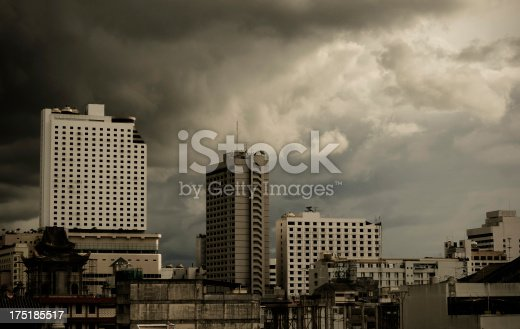 Aerial view of city Skyline with stomy cloud