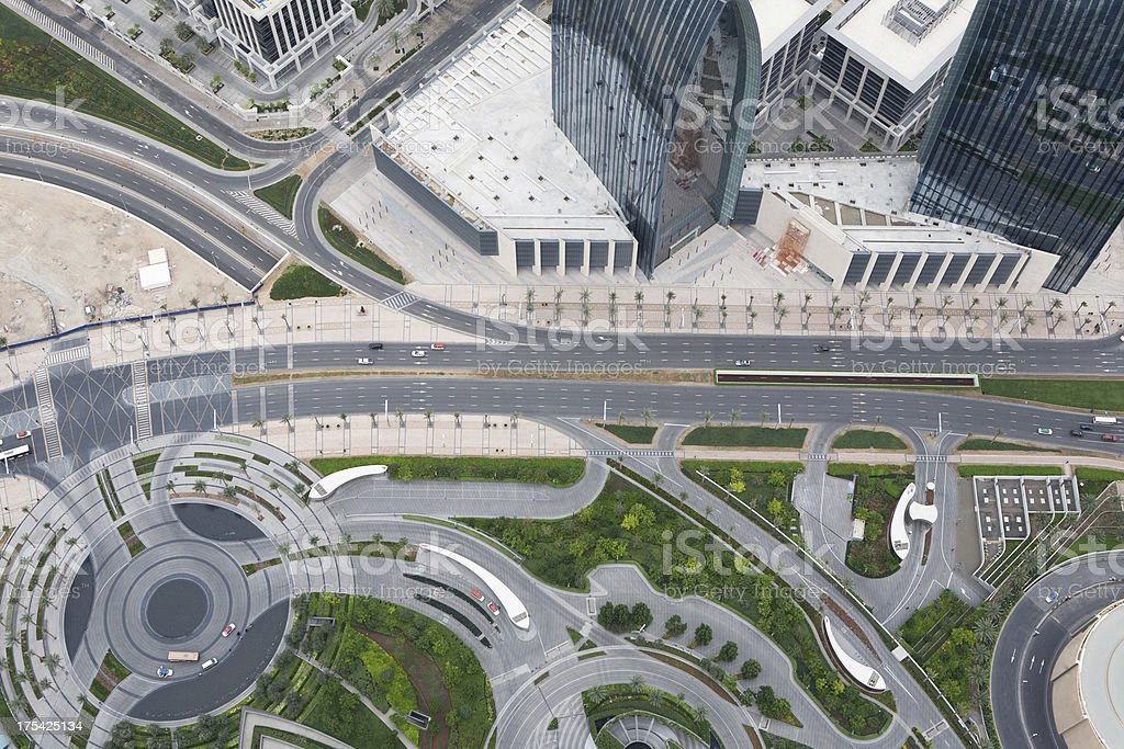 Aerial View of City Streets and Traffic royalty-free stock photo
