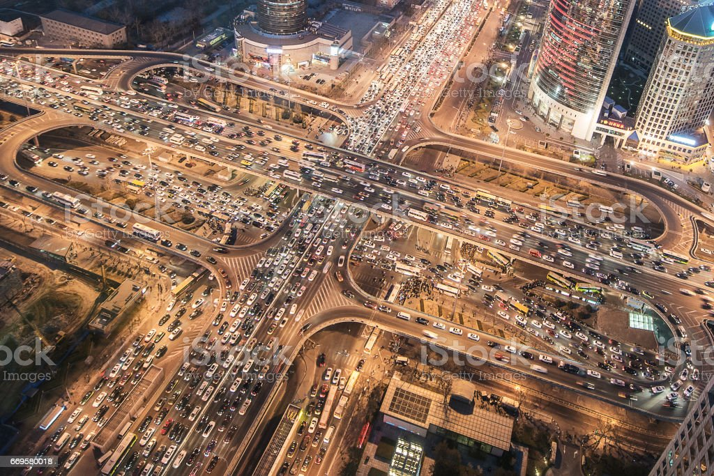 Aerial View of City Traffic Jam stock photo
