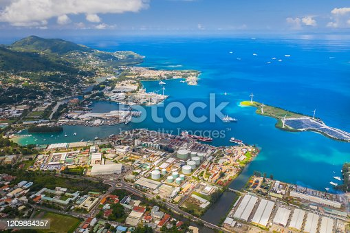 480763537 istock photo Aerial view of city Victoria with blue ocean 1209864357