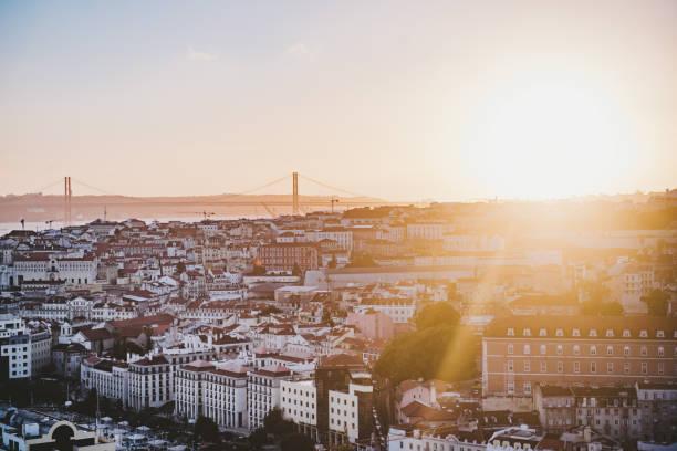 Luftaufnahme des Stadtbildes gegen Himmel bei Sonnenuntergang – Foto