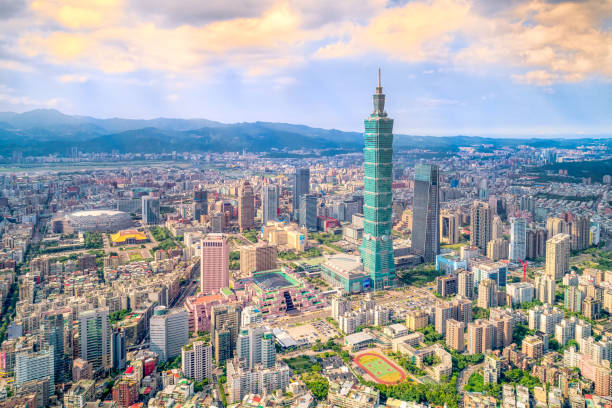 Aerial view of cityscape at Taipei center district, Taiwan Inspire II taiwan stock pictures, royalty-free photos & images