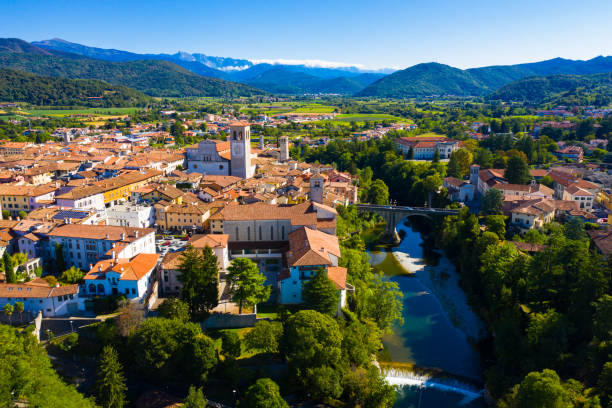 Aerial view of Cividale del Friuli, Italy stock photo