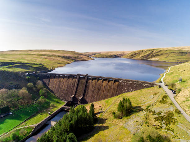 Aerial view of Claerwen Reservoir stock photo