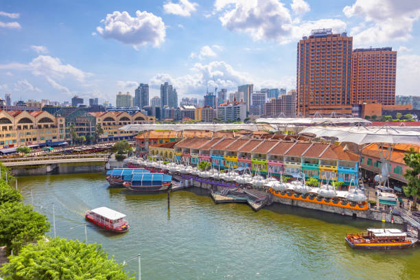 Aerial view of Clarke Quay in singapore stock photo
