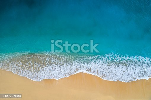 Drone photo of waves and and sandy beach of Kaputaş.