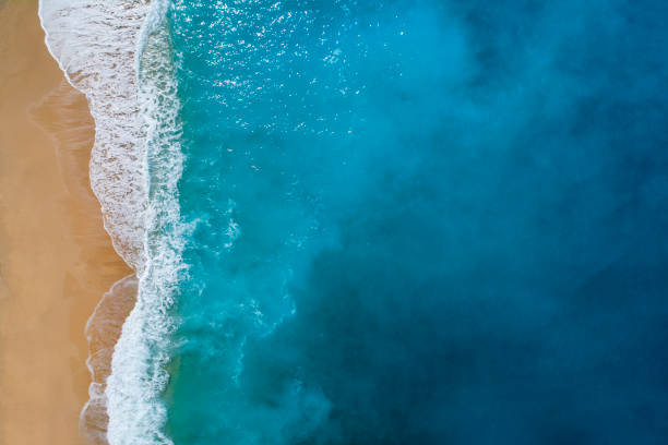 Aerial view of clear turquoise sea stock photo