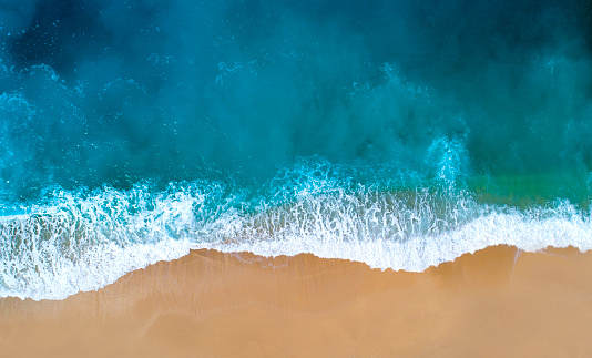 Aerial view of clear turquoise sea