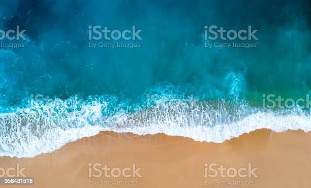 Aerial view of sandy beach, clear turquoise water. Mediterranean sea.