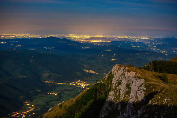 Aerial view of cliff in mountains at night, Nanos. stock photo
