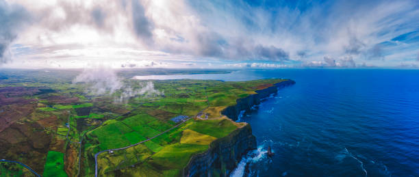 Aerial view of cliffs of Moher Ireland stock photo