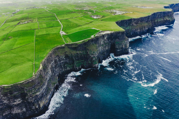 Aerial view of cliffs of Moher Ireland