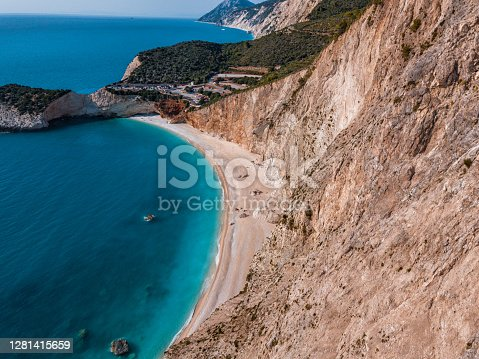 Aerial view of cliffs over beautiful Porto Katsiki beach in Lefkada
