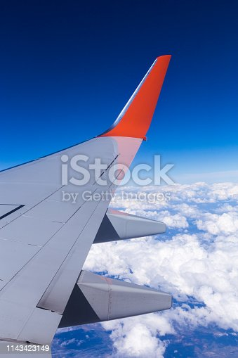 155439315istockphoto Aerial view of cloud blue sky and plane wing view through the airplane window. 1143423149