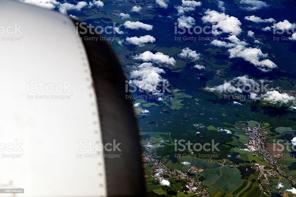Aerial View of Cloud Covered Land royalty-free stock photo