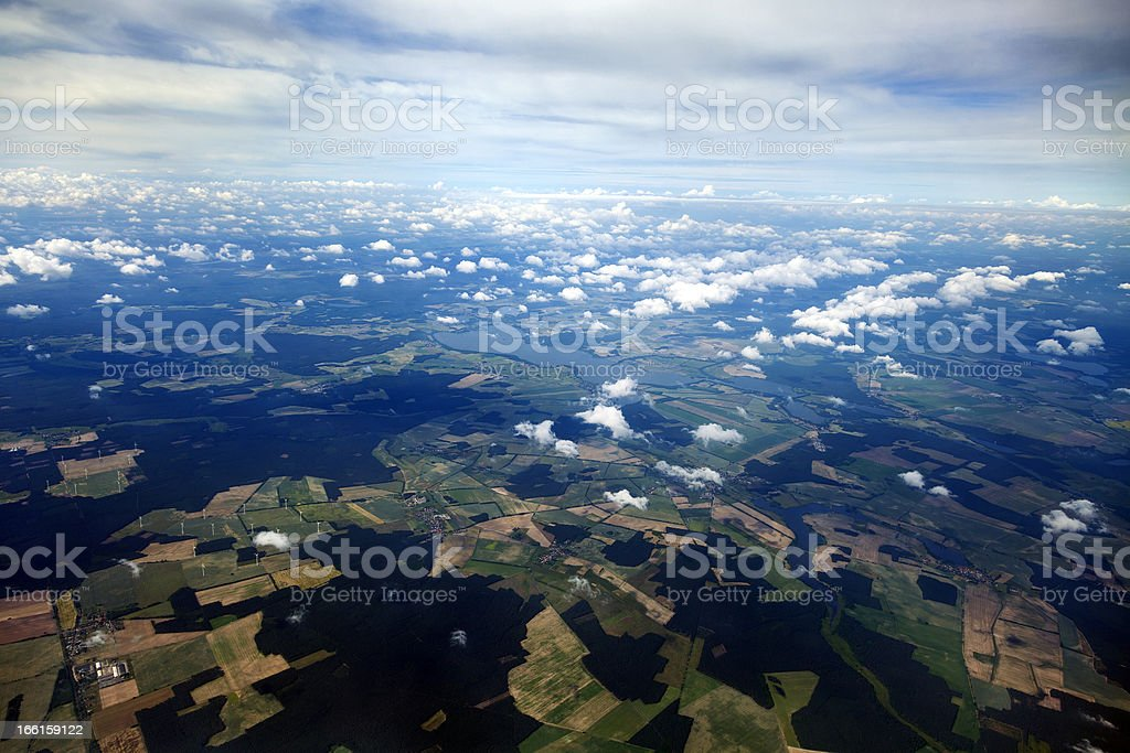 Aerial View of Clouds and Land royalty-free stock photo