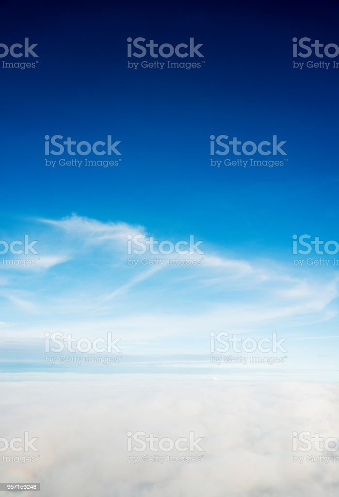Aerial view of clouds and sky stock photo