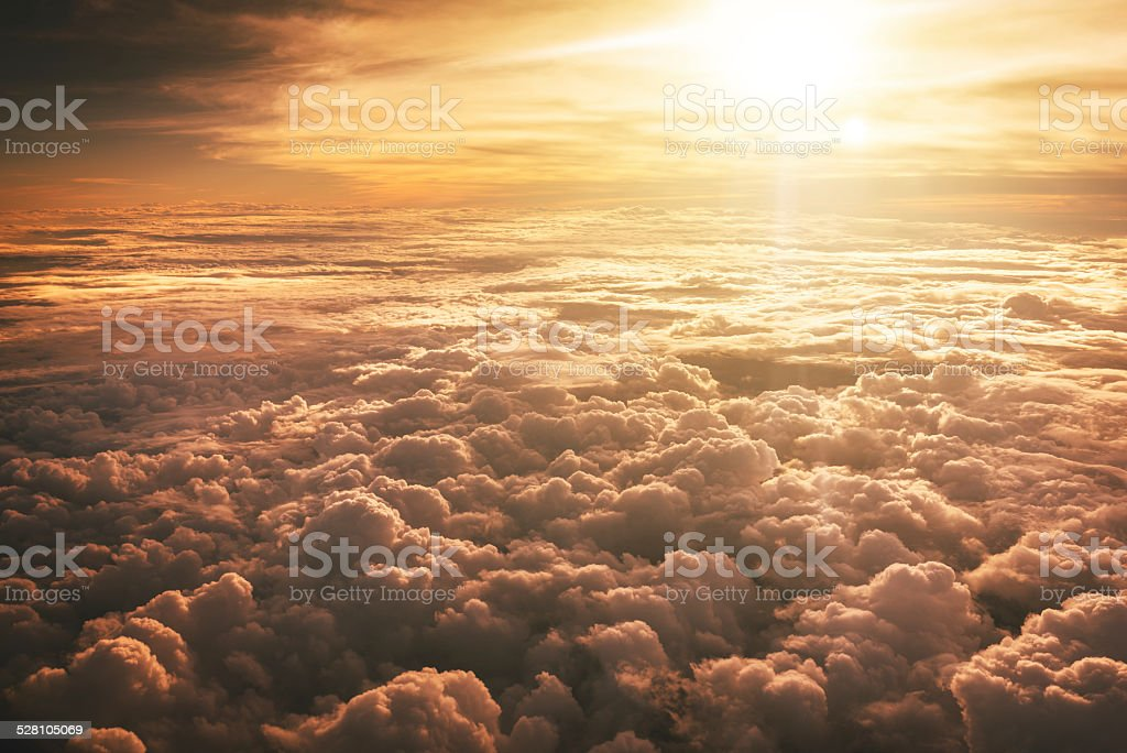 Aerial view of clouds from the sky stock photo