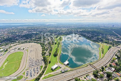 Aerial view of clouds reflected in Hillview Reservoir, looking south