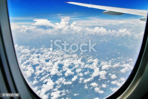 istock Aerial view of cloudscape and plane wing inside window 578305796