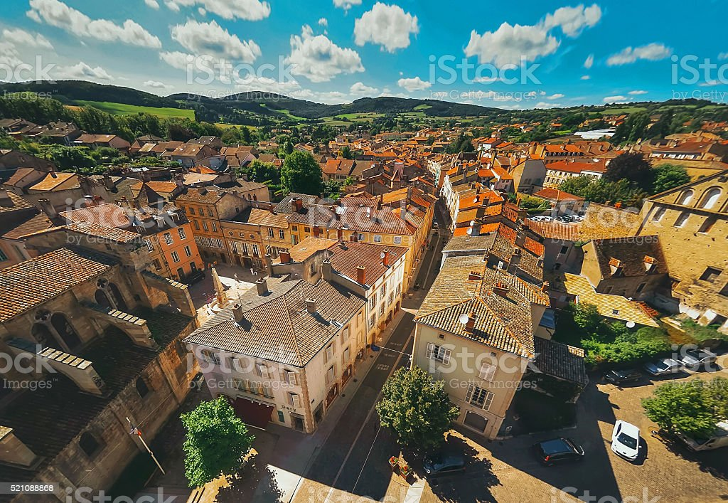 Aerial view  of Cluny city in  France , Burgundy stock photo