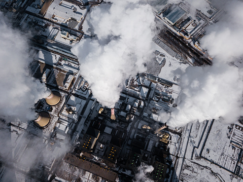 Aerial View of Coal Fired Power Station in Winter