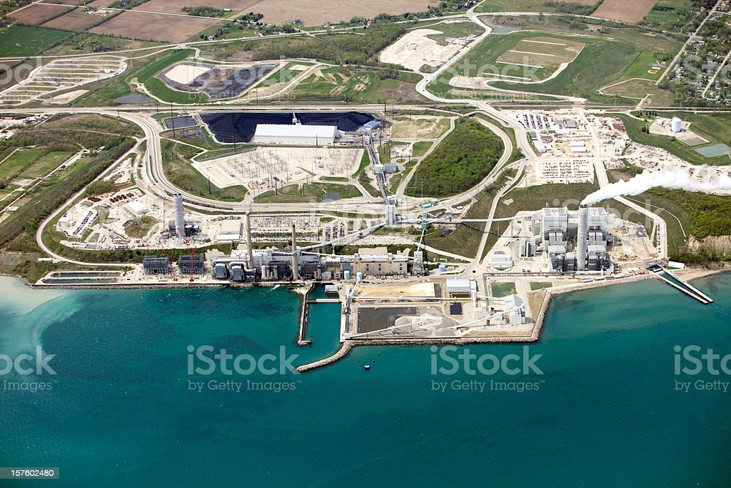 Aerial View of Coal Fired Power Station Next to Lake royalty-free stock photo