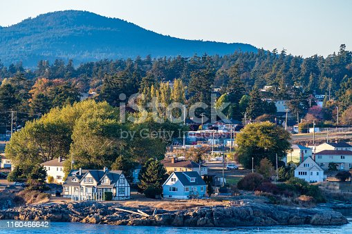istock Aerial view of coastal landscape, houses/homes in residential location by the sea and mountains on waterfront ocean water harbour bay, in Victoria, Canada 1160466642