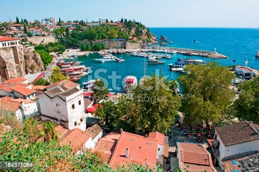 istock Aerial view of coastal line and port of Antalya, Turkey 184371054