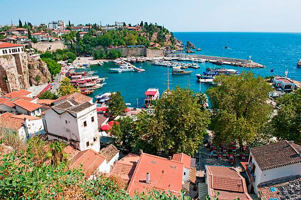 Aerial view of coastal line and port of Antalya, Turkey stock photo