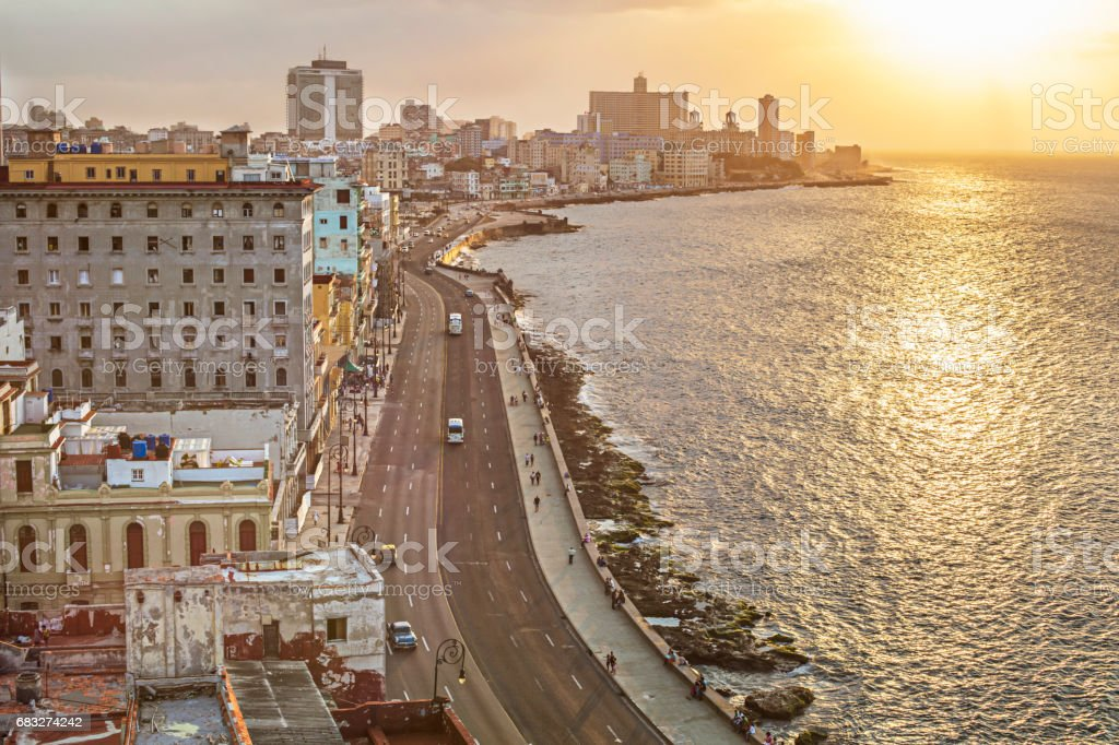 Aerial view of coastal road in city by sea foto de stock royalty-free