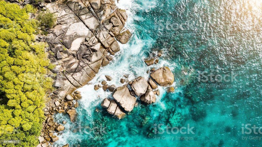 Aerial view of coastline -  Anse Royale - Mahe Island - Seychelles stock photo