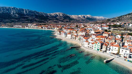 Aerial View of Coastline Town of Baska, Krk Island , Croatia