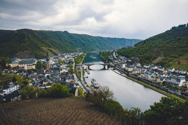 Aerial view of Cochem and the River Moselle at river Moselle, Rhineland-Palatinate, Germany stock photo