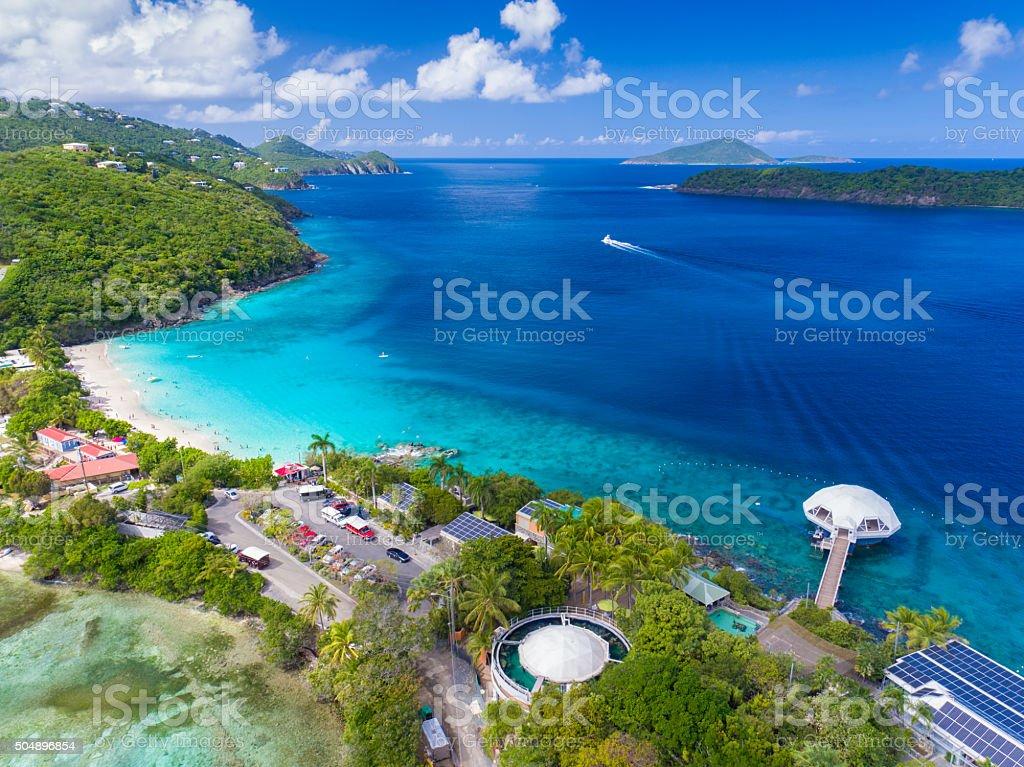 aerial view of Coki Bay, St. Thomas, US Virgin Islands stock photo