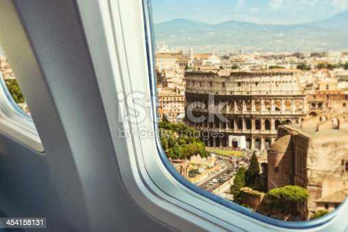 istock Aerial view of Coliseum from airplane 454158131