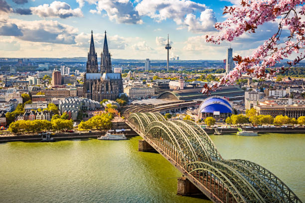 Aerial view of Cologne at spring stock photo