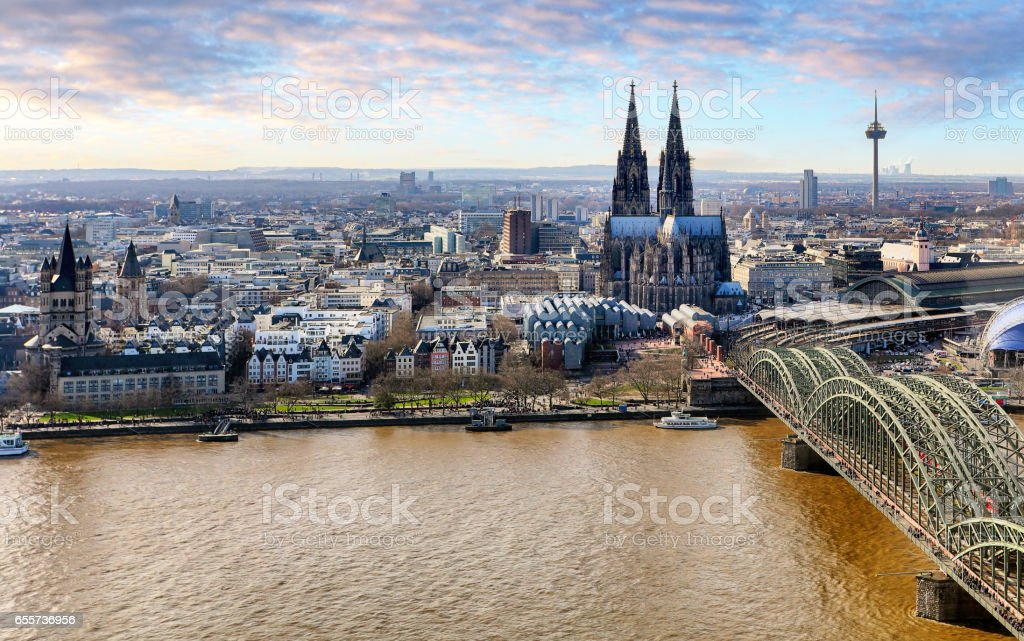 Aerial view of Cologne, Germany. stock photo